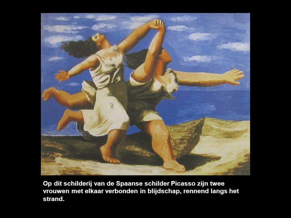 Op dit schilderij van de Spaanse schilder Picasso zijn twee vrouwen met elkaar verbonden in blijdschap, rennend langs het strand.