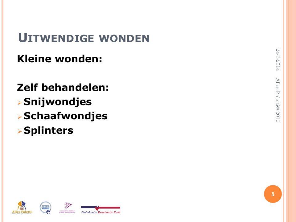 K LEINE WONDEN  Schoonmaken met water  Denk aan sieraden afdoen  Ontsmetten  Steriel afdekken 6 24-9-2014 Alles-Paletti® 2010