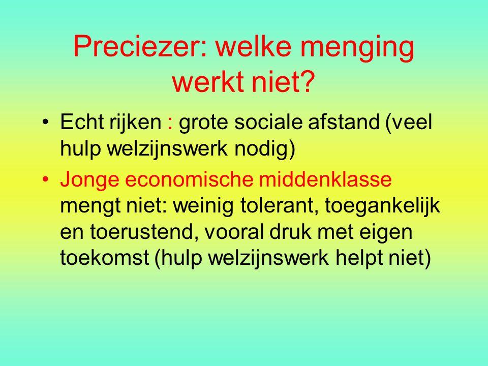 Preciezer: welke menging werkt niet? Echt rijken : grote sociale afstand (veel hulp welzijnswerk nodig) Jonge economische middenklasse mengt niet: wei