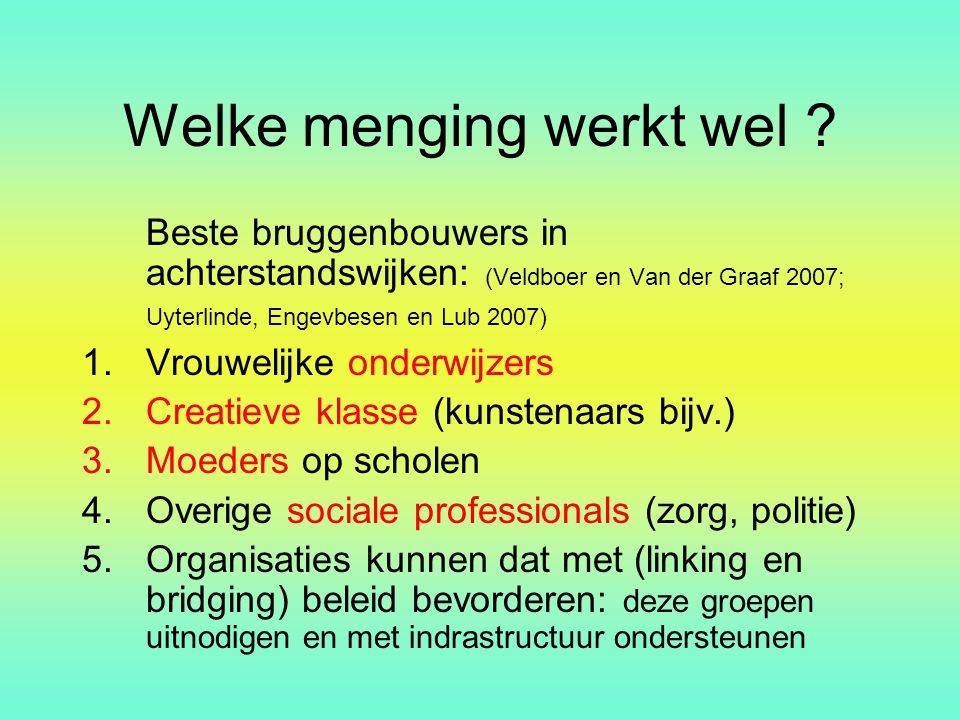 Welke menging werkt wel ? Beste bruggenbouwers in achterstandswijken: (Veldboer en Van der Graaf 2007; Uyterlinde, Engevbesen en Lub 2007) 1.Vrouwelij