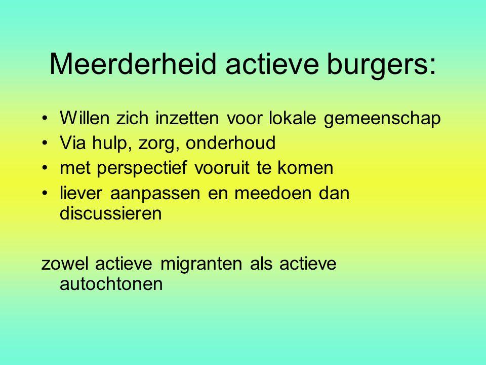 Meerderheid actieve burgers: Willen zich inzetten voor lokale gemeenschap Via hulp, zorg, onderhoud met perspectief vooruit te komen liever aanpassen
