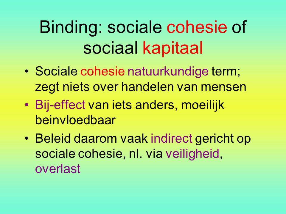 Binding: sociale cohesie of sociaal kapitaal Sociale cohesie natuurkundige term; zegt niets over handelen van mensen Bij-effect van iets anders, moeil