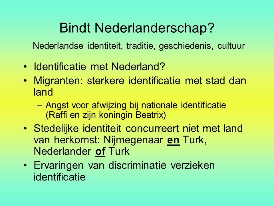 Bindt Nederlanderschap? Nederlandse identiteit, traditie, geschiedenis, cultuur Identificatie met Nederland? Migranten: sterkere identificatie met sta