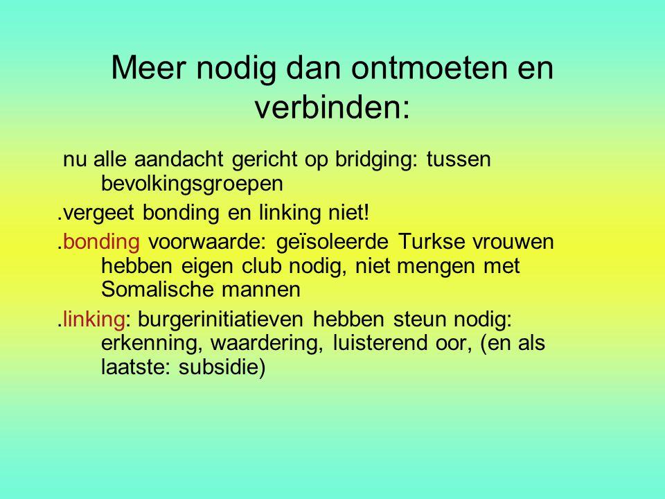 Meer nodig dan ontmoeten en verbinden: nu alle aandacht gericht op bridging: tussen bevolkingsgroepen.vergeet bonding en linking niet!.bonding voorwaa