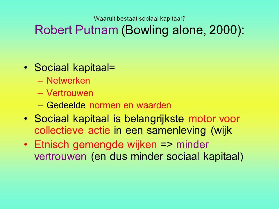 Waaruit bestaat sociaal kapitaal? Robert Putnam (Bowling alone, 2000): Sociaal kapitaal= –Netwerken –Vertrouwen –Gedeelde normen en waarden Sociaal ka