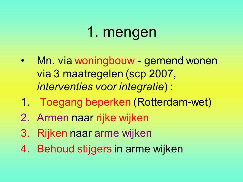 1. mengen Mn. via woningbouw - gemend wonen via 3 maatregelen (scp 2007, interventies voor integratie) : 1. Toegang beperken (Rotterdam-wet) 2.Armen n