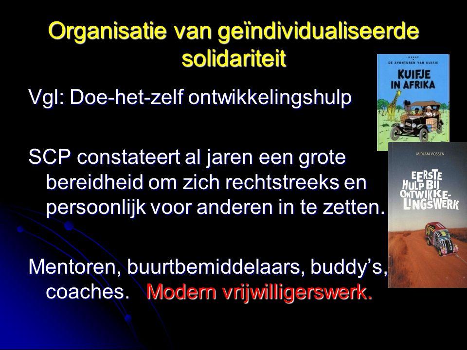 Organisatie van geïndividualiseerde solidariteit Vgl: Doe-het-zelf ontwikkelingshulp SCP constateert al jaren een grote bereidheid om zich rechtstreeks en persoonlijk voor anderen in te zetten.