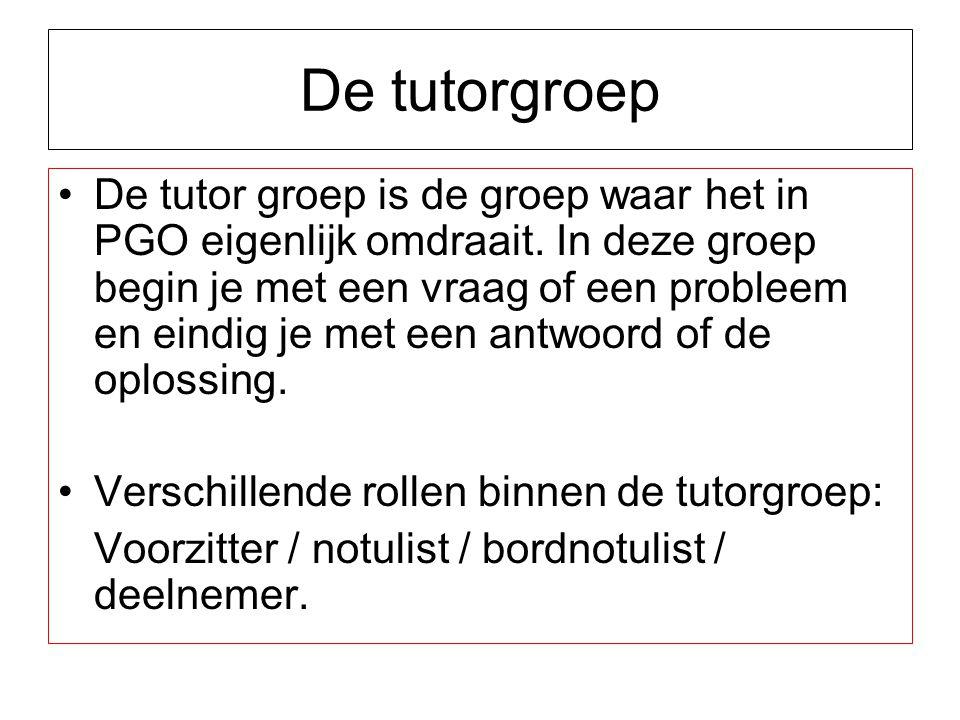 De tutorgroep De tutor groep is de groep waar het in PGO eigenlijk omdraait. In deze groep begin je met een vraag of een probleem en eindig je met een