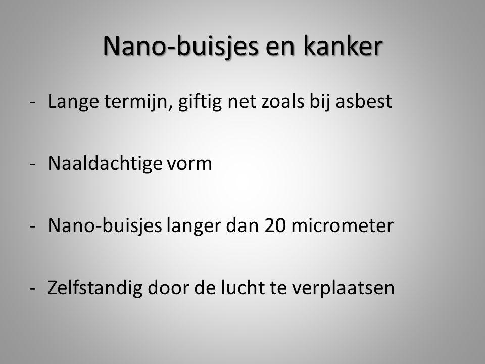 Nano-buisjes en kanker -Lange termijn, giftig net zoals bij asbest -Naaldachtige vorm -Nano-buisjes langer dan 20 micrometer -Zelfstandig door de lucht te verplaatsen