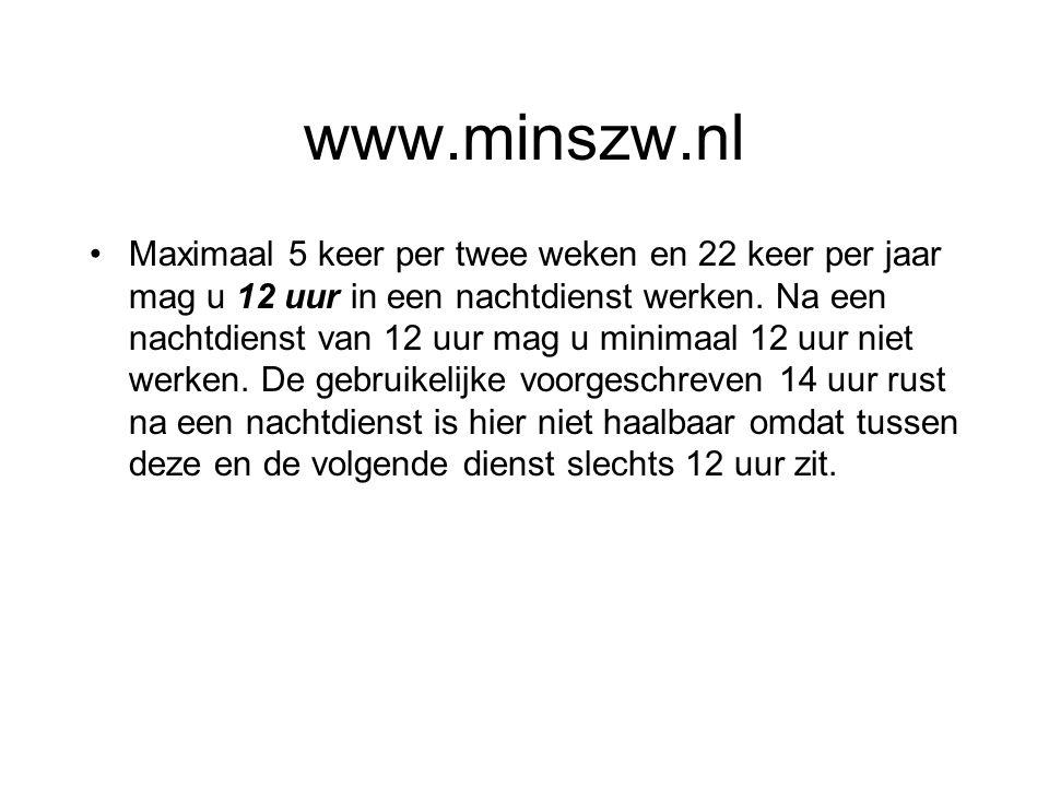 www.minszw.nl Maximaal 5 keer per twee weken en 22 keer per jaar mag u 12 uur in een nachtdienst werken. Na een nachtdienst van 12 uur mag u minimaal