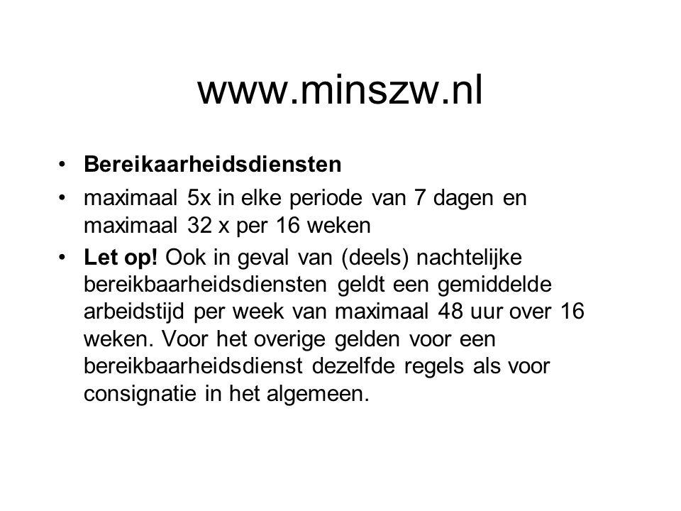 www.minszw.nl Bereikaarheidsdiensten maximaal 5x in elke periode van 7 dagen en maximaal 32 x per 16 weken Let op! Ook in geval van (deels) nachtelijk