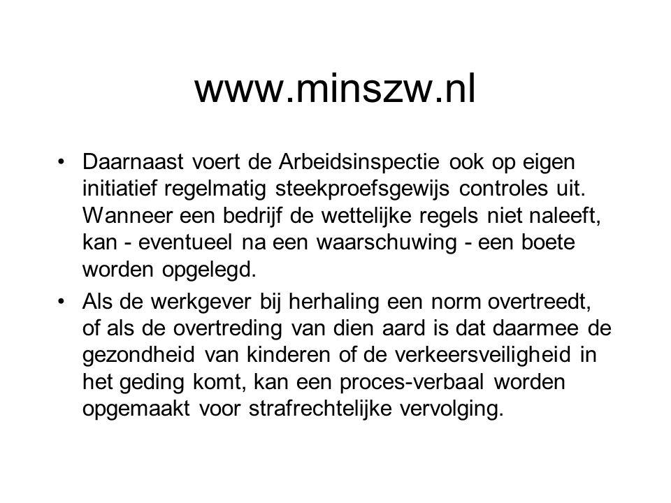 www.minszw.nl Daarnaast voert de Arbeidsinspectie ook op eigen initiatief regelmatig steekproefsgewijs controles uit. Wanneer een bedrijf de wettelijk
