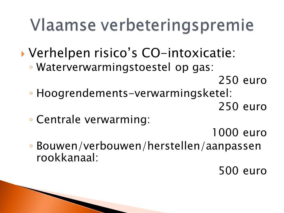  Verhelpen risico's CO-intoxicatie: ◦ Waterverwarmingstoestel op gas: 250 euro ◦ Hoogrendements-verwarmingsketel: 250 euro ◦ Centrale verwarming: 100