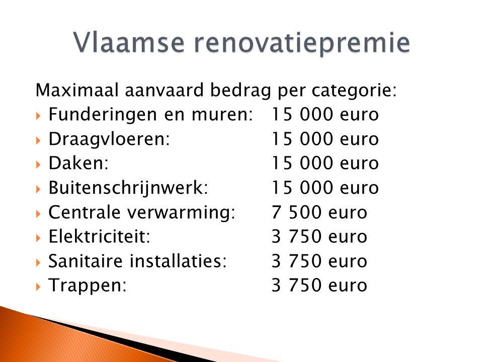 Maximaal aanvaard bedrag per categorie:  Funderingen en muren: 15 000 euro  Draagvloeren: 15 000 euro  Daken: 15 000 euro  Buitenschrijnwerk: 15 000 euro  Centrale verwarming: 7 500 euro  Elektriciteit: 3 750 euro  Sanitaire installaties: 3 750 euro  Trappen: 3 750 euro