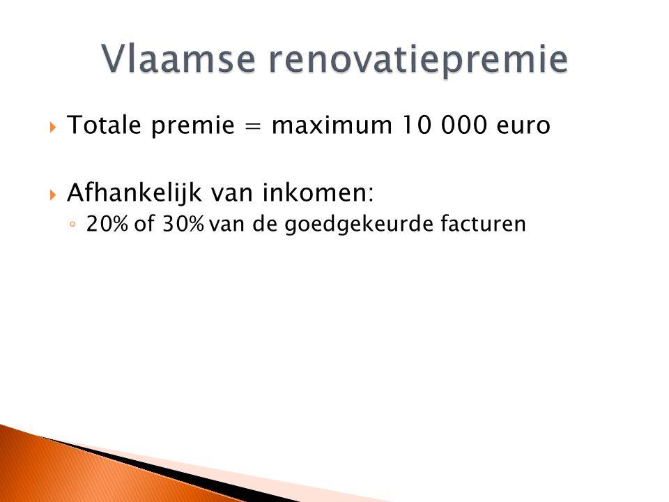  Totale premie = maximum 10 000 euro  Afhankelijk van inkomen: ◦ 20% of 30% van de goedgekeurde facturen
