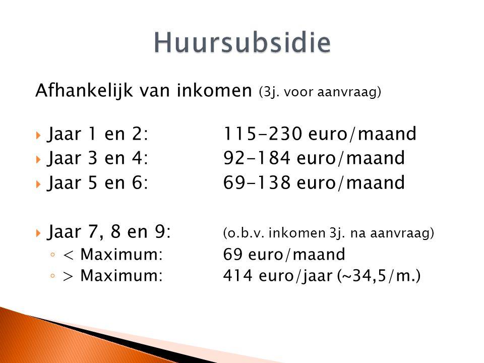 Afhankelijk van inkomen (3j. voor aanvraag)  Jaar 1 en 2:115-230 euro/maand  Jaar 3 en 4:92-184 euro/maand  Jaar 5 en 6:69-138 euro/maand  Jaar 7,