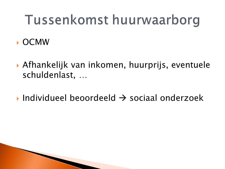  OCMW  Afhankelijk van inkomen, huurprijs, eventuele schuldenlast, …  Individueel beoordeeld  sociaal onderzoek