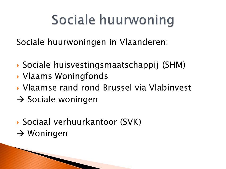 Sociale huurwoningen in Vlaanderen:  Sociale huisvestingsmaatschappij (SHM)  Vlaams Woningfonds  Vlaamse rand rond Brussel via Vlabinvest  Sociale