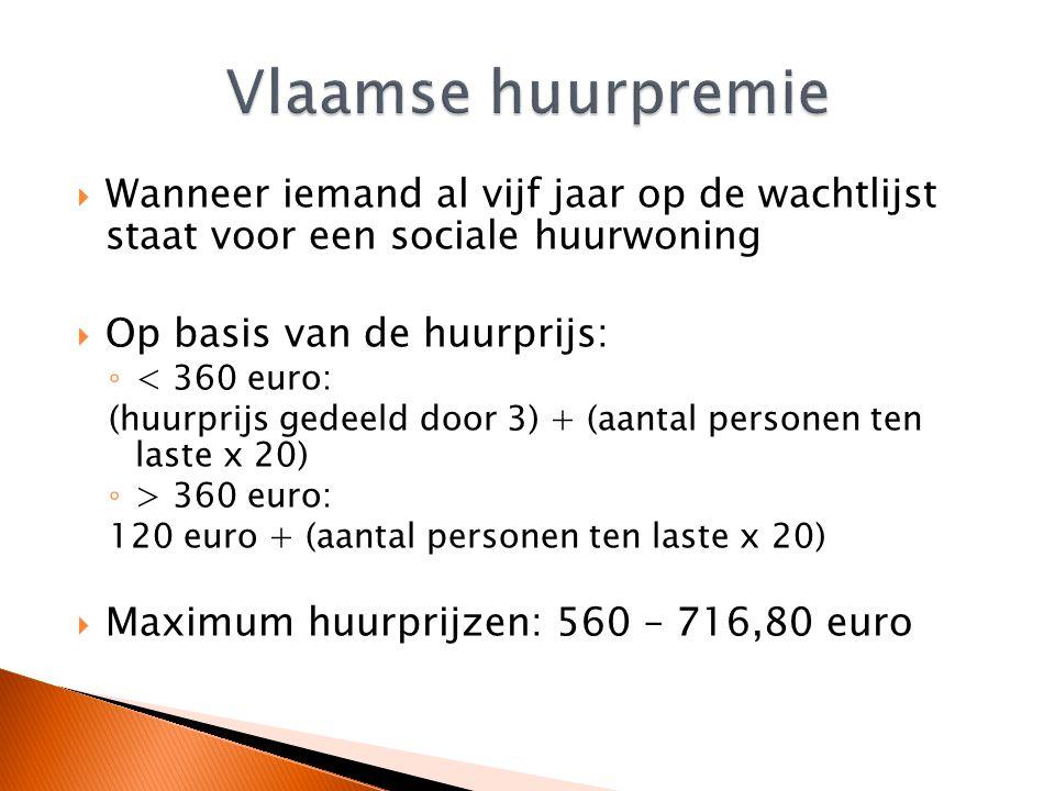  Wanneer iemand al vijf jaar op de wachtlijst staat voor een sociale huurwoning  Op basis van de huurprijs: ◦ < 360 euro: (huurprijs gedeeld door 3)