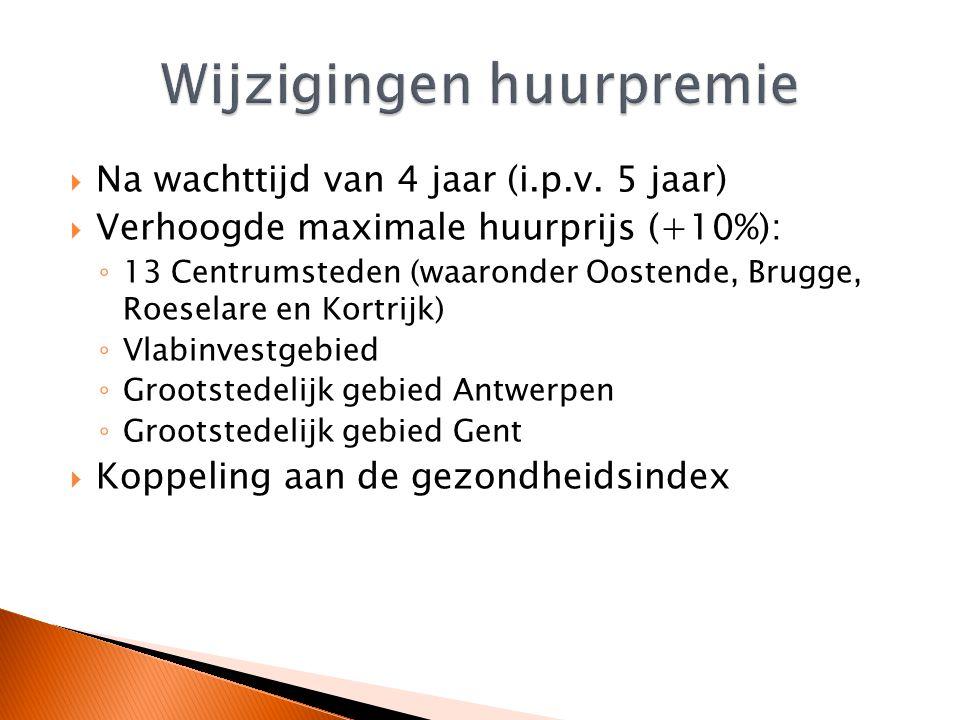  Na wachttijd van 4 jaar (i.p.v. 5 jaar)  Verhoogde maximale huurprijs (+10%): ◦ 13 Centrumsteden (waaronder Oostende, Brugge, Roeselare en Kortrijk