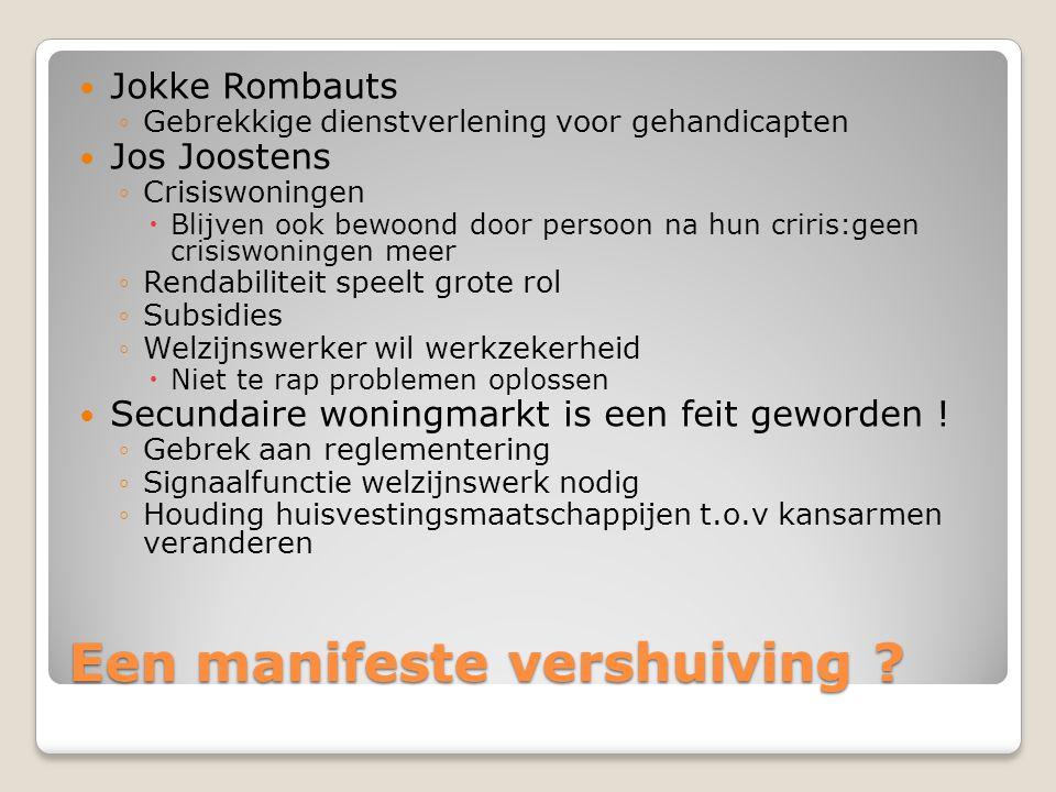Een manifeste vershuiving ? Jokke Rombauts ◦Gebrekkige dienstverlening voor gehandicapten Jos Joostens ◦Crisiswoningen  Blijven ook bewoond door pers