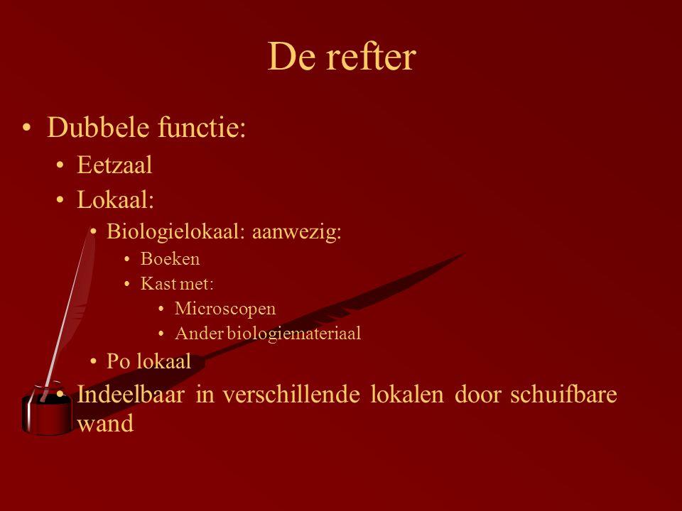 Dubbele functie: Eetzaal Lokaal: Biologielokaal: aanwezig: Boeken Kast met: Microscopen Ander biologiemateriaal Po lokaal Indeelbaar in verschillende lokalen door schuifbare wand