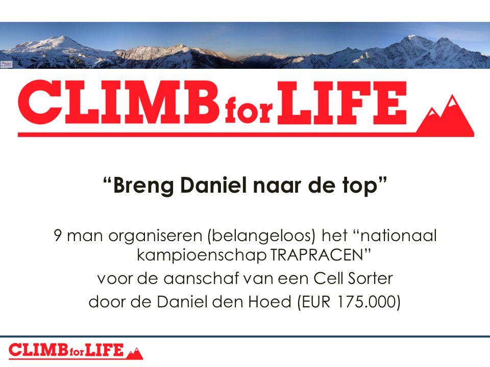 Breng Daniel naar de top 9 man organiseren (belangeloos) het nationaal kampioenschap TRAPRACEN voor de aanschaf van een Cell Sorter door de Daniel den Hoed (EUR 175.000)
