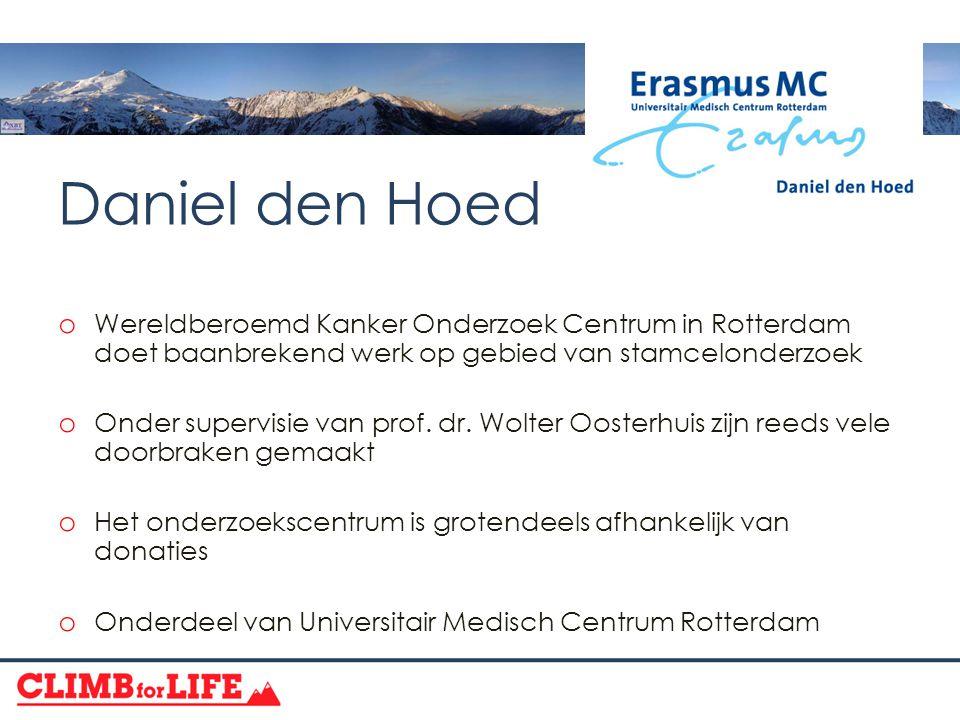 Daniel den Hoed o Wereldberoemd Kanker Onderzoek Centrum in Rotterdam doet baanbrekend werk op gebied van stamcelonderzoek o Onder supervisie van prof.