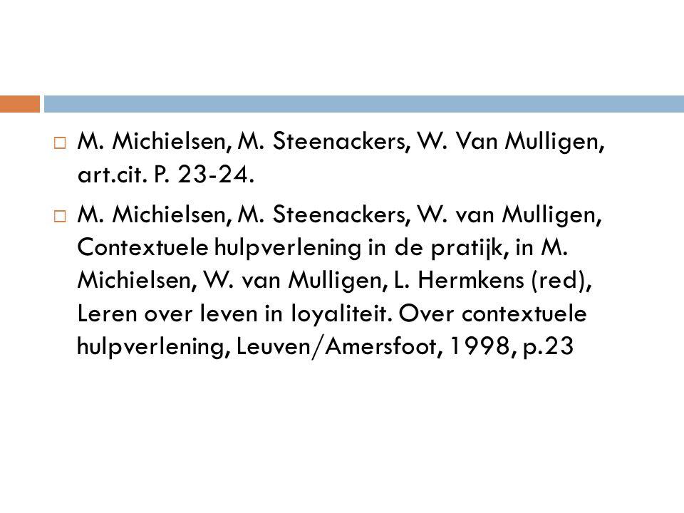  M. Michielsen, M. Steenackers, W. Van Mulligen, art.cit. P. 23-24.  M. Michielsen, M. Steenackers, W. van Mulligen, Contextuele hulpverlening in de