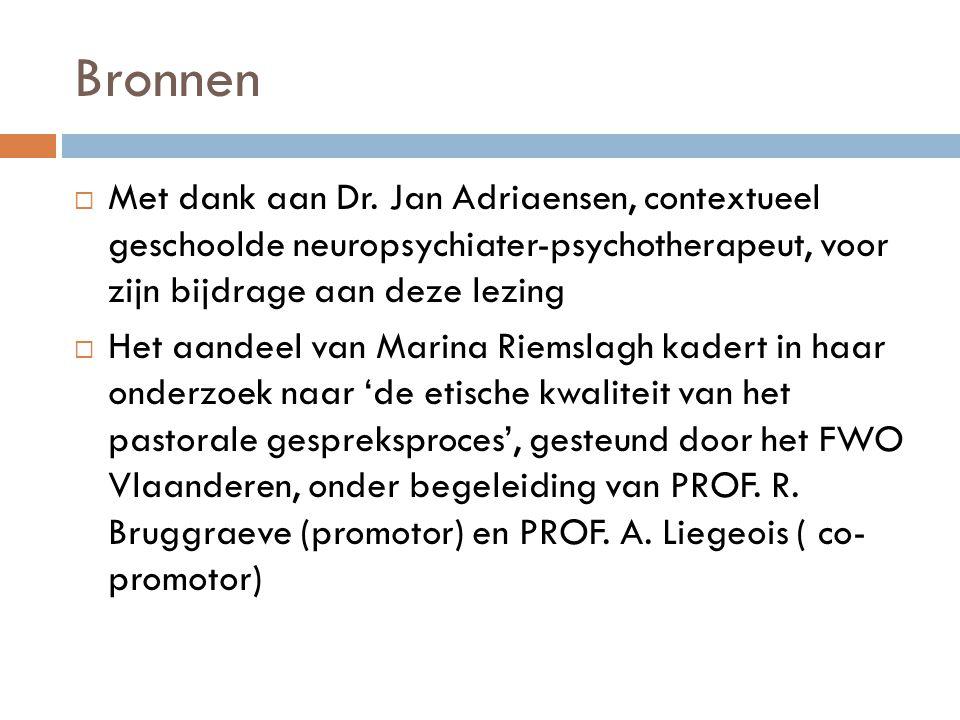 Bronnen  Met dank aan Dr. Jan Adriaensen, contextueel geschoolde neuropsychiater-psychotherapeut, voor zijn bijdrage aan deze lezing  Het aandeel va
