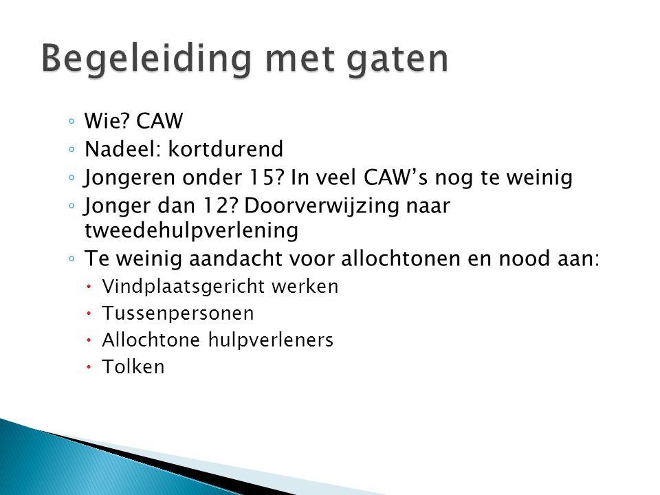 ◦ Wie. CAW ◦ Nadeel: kortdurend ◦ Jongeren onder 15.