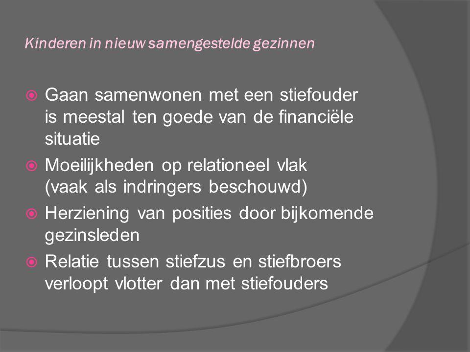 Kinderen in nieuw samengestelde gezinnen  Gaan samenwonen met een stiefouder is meestal ten goede van de financiële situatie  Moeilijkheden op relat