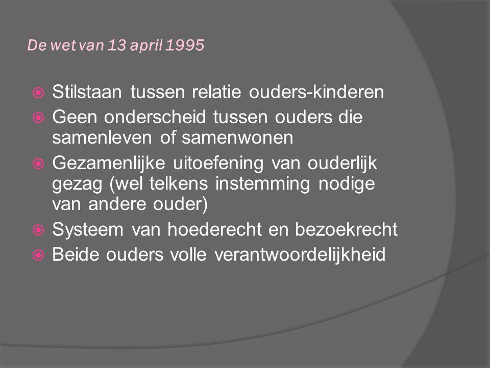 De wet van 13 april 1995  Stilstaan tussen relatie ouders-kinderen  Geen onderscheid tussen ouders die samenleven of samenwonen  Gezamenlijke uitoe