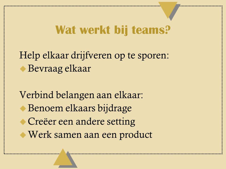 (2) Leerblokkades: teams u Denken in termen van 'de organisatie' of 'het team' in plaats van 'mensen'.