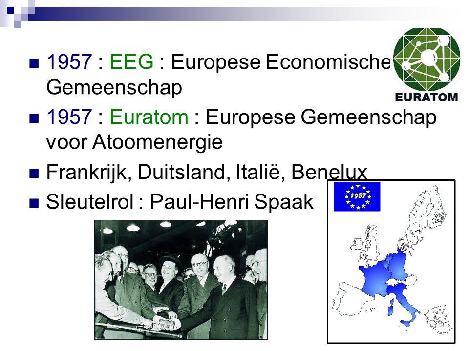 1957 : EEG : Europese Economische Gemeenschap 1957 : Euratom : Europese Gemeenschap voor Atoomenergie Frankrijk, Duitsland, Italië, Benelux Sleutelrol : Paul-Henri Spaak