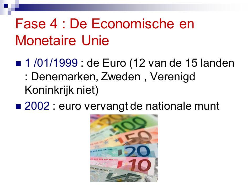 Fase 4 : De Economische en Monetaire Unie 1 /01/1999 : de Euro (12 van de 15 landen : Denemarken, Zweden, Verenigd Koninkrijk niet) 2002 : euro vervan