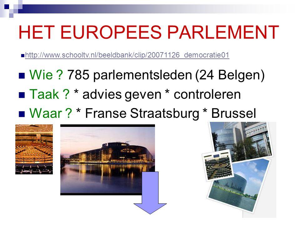 HET EUROPEES PARLEMENT Wie ? 785 parlementsleden (24 Belgen) Taak ? * advies geven * controleren Waar ? * Franse Straatsburg * Brussel http://www.scho