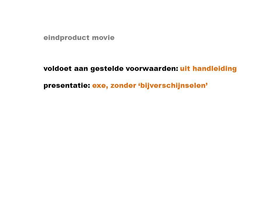 eindproduct movie voldoet aan gestelde voorwaarden: uit handleiding presentatie: exe, zonder 'bijverschijnselen'