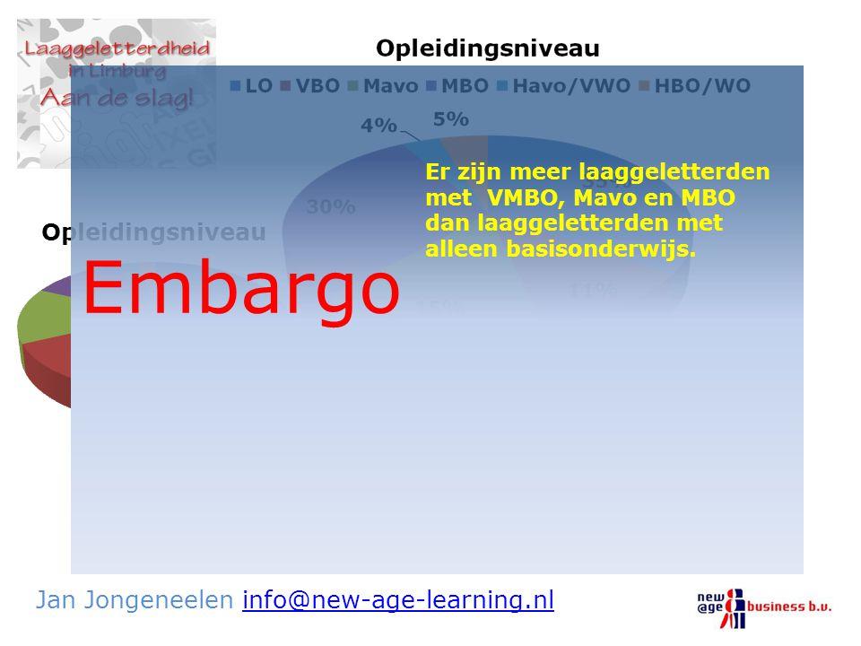 De laaggeletterde in Nederland en Limburg Jan Jongeneelen info@new-age-learning.nlinfo@new-age-learning.nl Embargo Er zijn meer laaggeletterden met VM