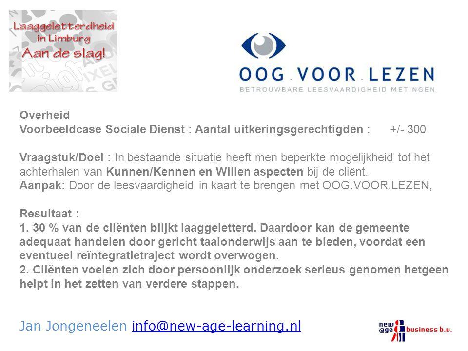 Jan Jongeneelen info@new-age-learning.nlinfo@new-age-learning.nl Overheid Voorbeeldcase Sociale Dienst : Aantal uitkeringsgerechtigden : +/- 300 Vraag