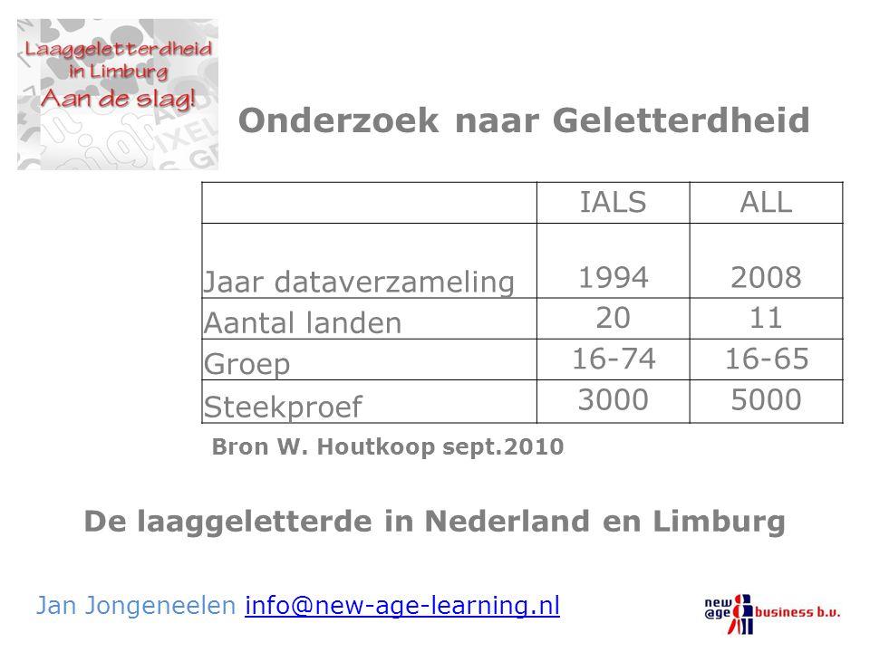 De laaggeletterde in Nederland en Limburg Jan Jongeneelen info@new-age-learning.nlinfo@new-age-learning.nl Onderzoek naar Geletterdheid IALSALL Jaar d