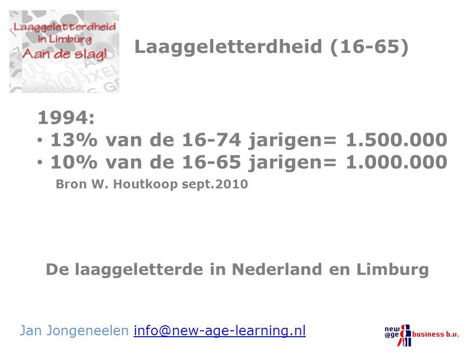 De laaggeletterde in Nederland en Limburg Jan Jongeneelen info@new-age-learning.nlinfo@new-age-learning.nl Laaggeletterdheid (16-65) 1994: 13% van de