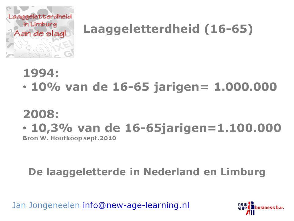 De laaggeletterde in Nederland en Limburg Jan Jongeneelen info@new-age-learning.nlinfo@new-age-learning.nl Laaggeletterdheid (16-65) 1994: 10% van de
