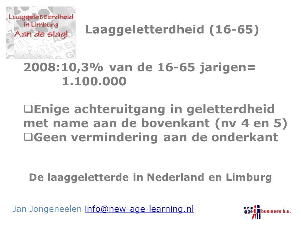 De laaggeletterde in Nederland en Limburg Jan Jongeneelen info@new-age-learning.nlinfo@new-age-learning.nl Laaggeletterdheid (16-65) 2008:10,3% van de