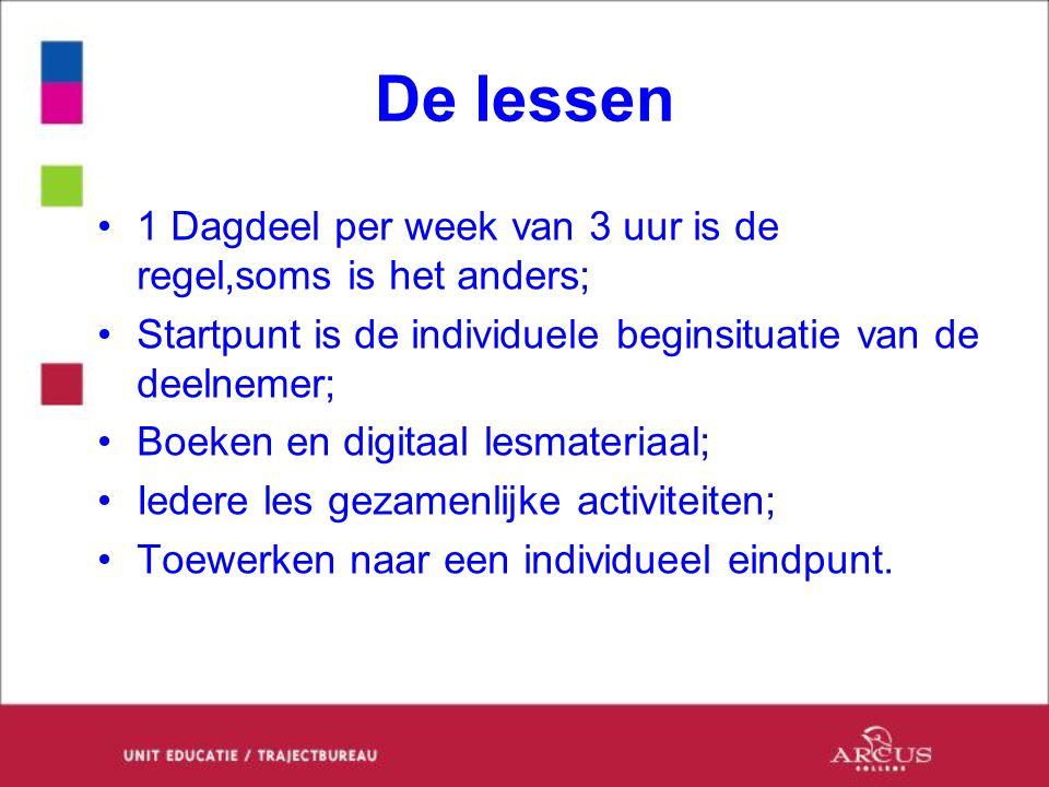 De lessen 1 Dagdeel per week van 3 uur is de regel,soms is het anders; Startpunt is de individuele beginsituatie van de deelnemer; Boeken en digitaal