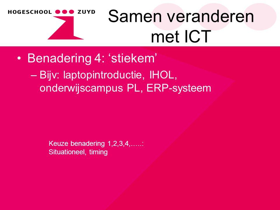 Samen veranderen met ICT Benadering 4: 'stiekem' –Bijv: laptopintroductie, IHOL, onderwijscampus PL, ERP-systeem Keuze benadering 1,2,3,4,…..: Situati