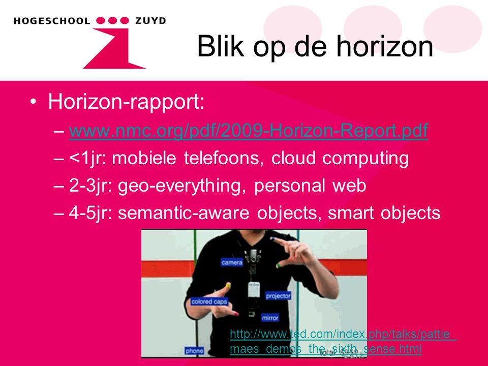 Blik op de horizon Horizon-rapport: –www.nmc.org/pdf/2009-Horizon-Report.pdfwww.nmc.org/pdf/2009-Horizon-Report.pdf –<1jr: mobiele telefoons, cloud co
