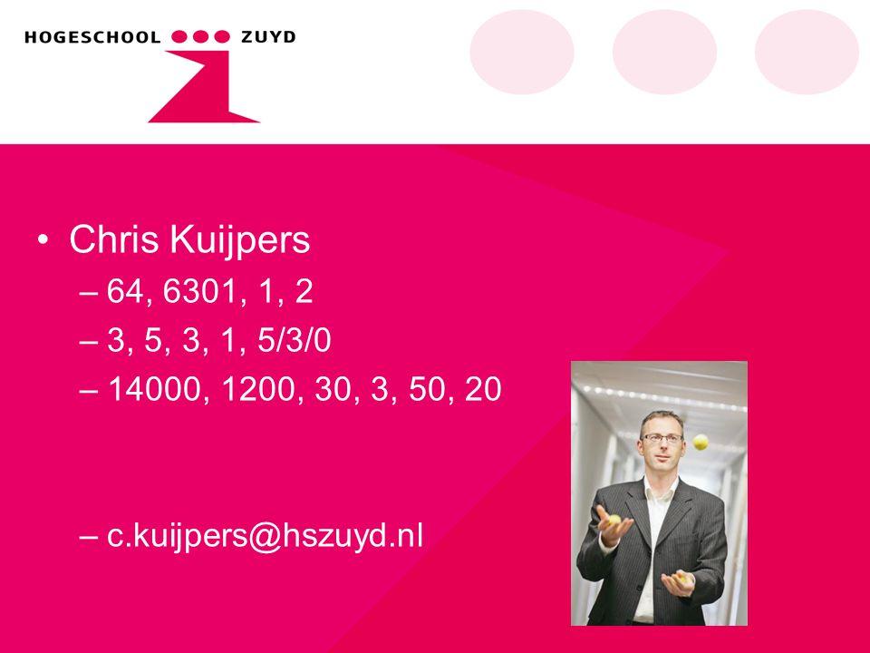 Chris Kuijpers –64, 6301, 1, 2 –3, 5, 3, 1, 5/3/0 –14000, 1200, 30, 3, 50, 20 –c.kuijpers@hszuyd.nl