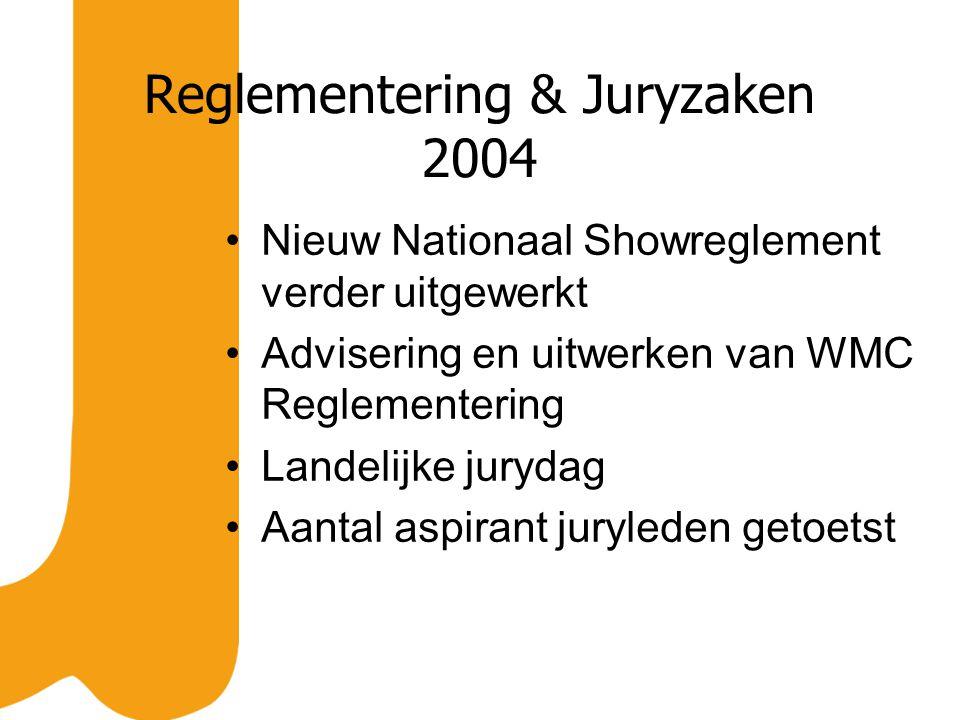 Reglementering & Juryzaken 2004 Nieuw Nationaal Showreglement verder uitgewerkt Advisering en uitwerken van WMC Reglementering Landelijke jurydag Aantal aspirant juryleden getoetst