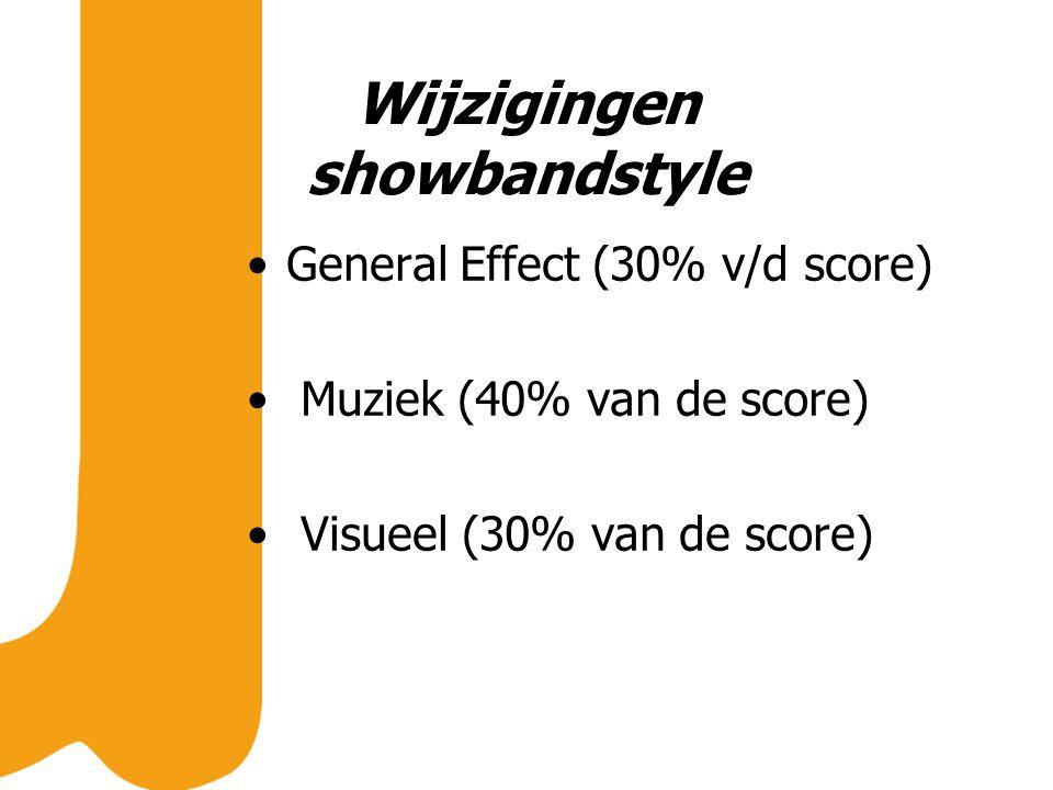 Wijzigingen showbandstyle General Effect (30% v/d score) Muziek (40% van de score) Visueel (30% van de score)